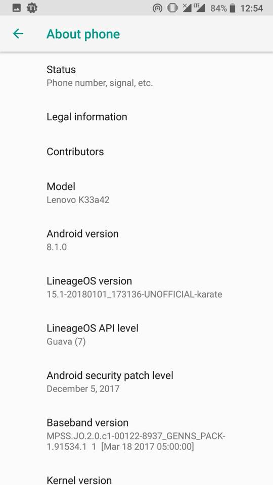 Android 8.1.0 Oreo on k6 power