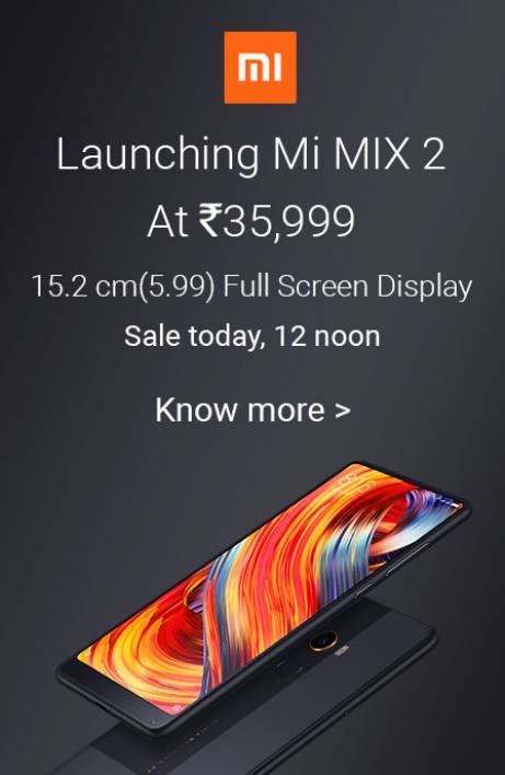Get ready for the next Sale of Xiaomi Mi MIX 2 India
