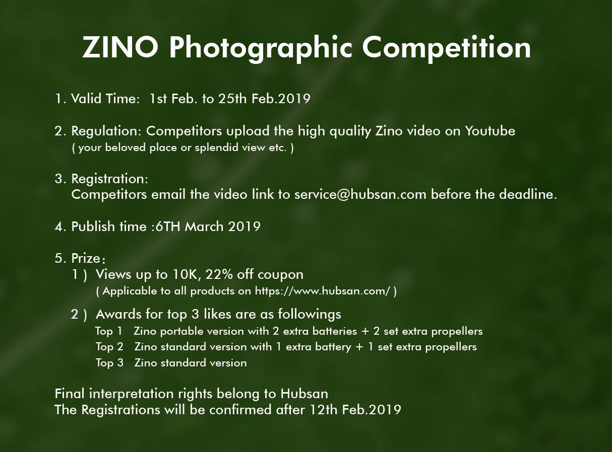 Zino photographic Competition Winners Announced We are so glad to receive Zino review video about beautiful scenery ,flight experience and ideas from all over the world. Now excited to announce this competition's winners... Top 1:  Natic Drone  www.tomtop.com
