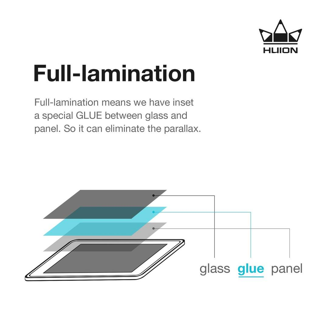 Start with KAMVAS Pro 13, Huion used full-lamination technology on pen display production. Between the glass and the panel, there is a special GLUE bonds them seamlessly. So using full-lamination screen will reduce parallax to almost none and provide a better display effect.⠀