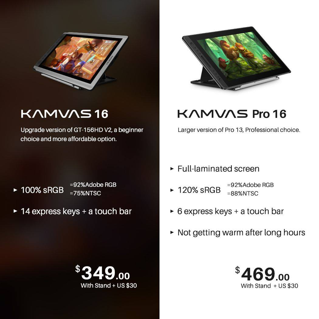 Your go-to choice comes in 2 versions. KAMVAS 16 or KAMVAS Pro 16? What's your choice?