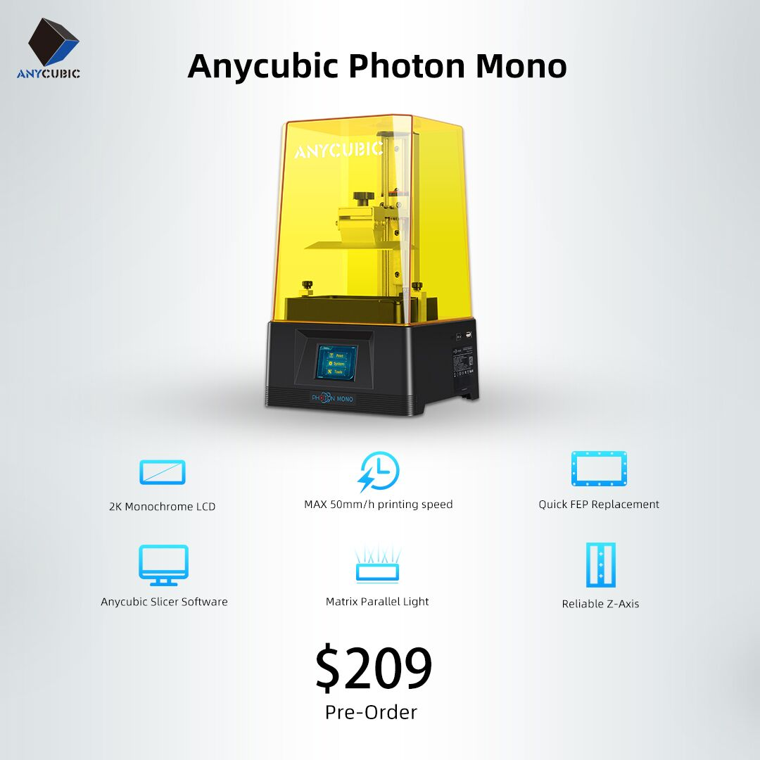 "Photon printer is one of Anycubic best selling 3d printers for years and now we have the upgrade version of it- Photon Mono 😀😁 1. 6"" 2K Monochrome LCD🔥🔥"