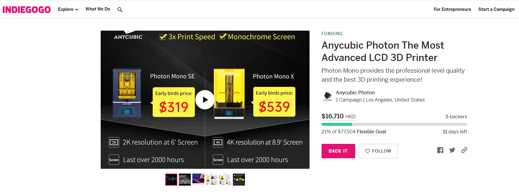 "Dear valued customer, We would like to inform you that a crowdfunding project ""Anycubic Photon The Most Advanced LCD 3D Printer"" on Indiegogo is NOT Anycube's official project.  At the same time, we have already contacted the Indiegogo to cancel the project.... Our new products will not be involved in any crowdfunding project. Please don't hesitate to contact us if you have any questions. Anycubic official link:"