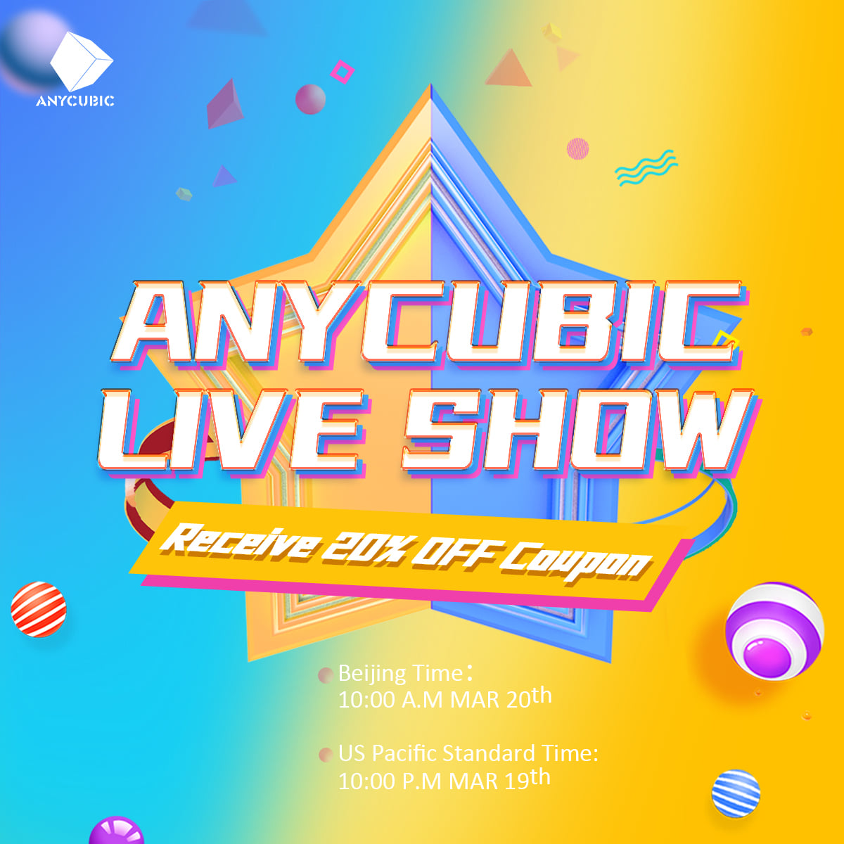 Enter Second ANYCUBIC Alibaba Live Show 📣🔊