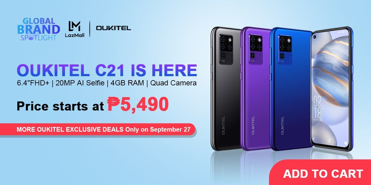 OUKITEL Global Brand Day is on September 27th. 30% discount on all items in the store, the latest OUKITEL C21 is on sale at only 5490PHP! Only September 27! 20MP AI Selfie | 16MP Quad Camera