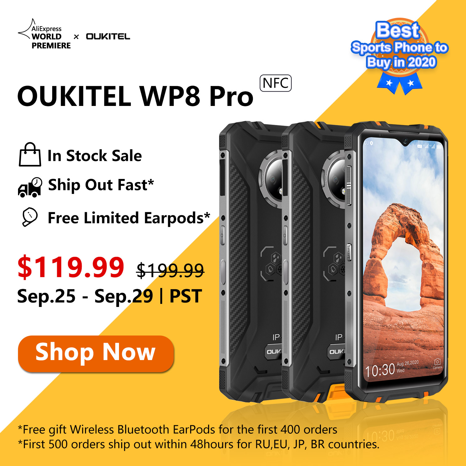 Global Open Sale Live Now📣📣 The best #SportsPhone  #OUKITEL #WP8Pro now available at $119.99 only😍