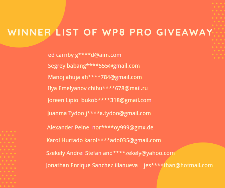 👏WP8 Pro Giveaway Winner Announcement👏
