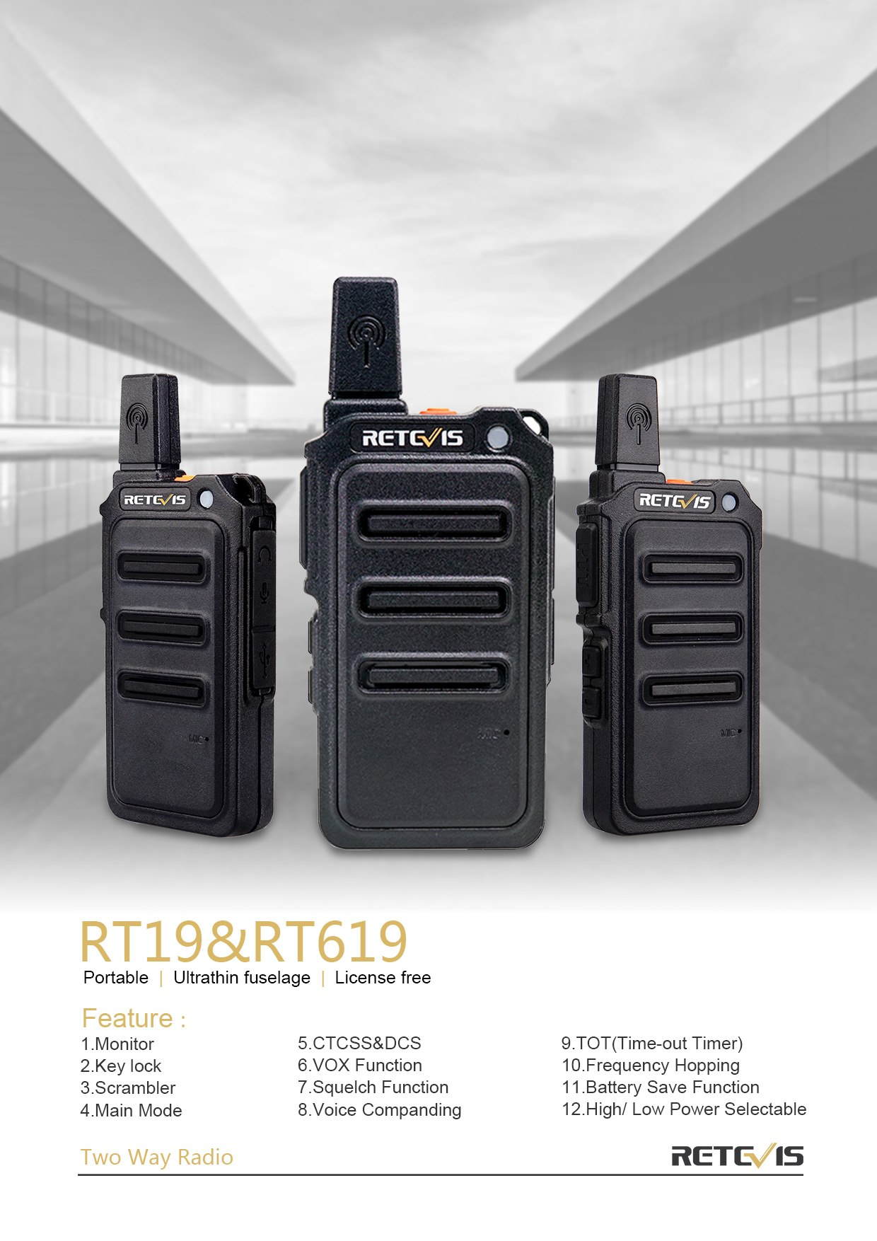 #Retevis Ultra-thin License-free Portable radio RT19(US version)/RT619(EU version).