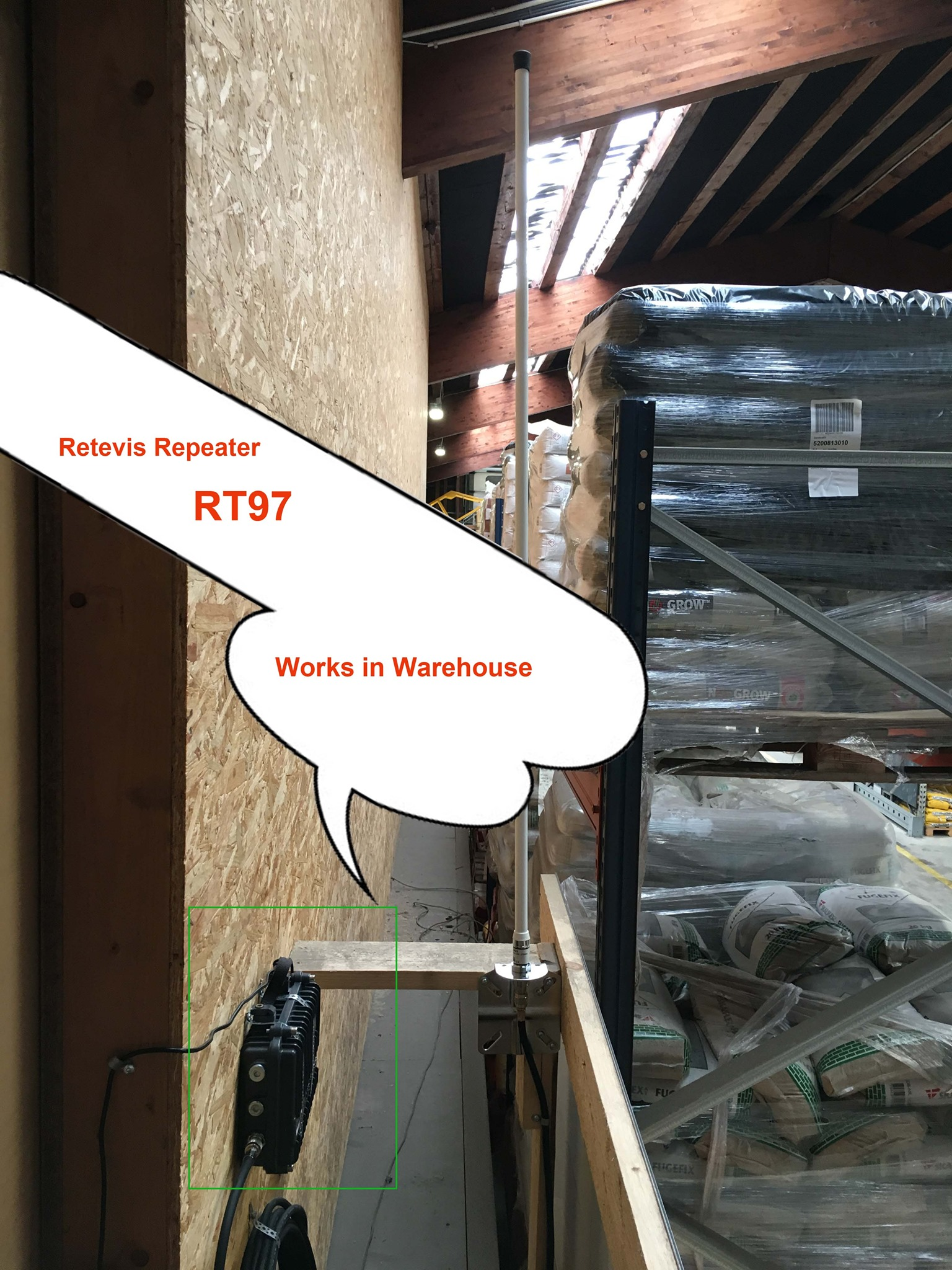 Retevis #RT97 repeater works in the warehouse.