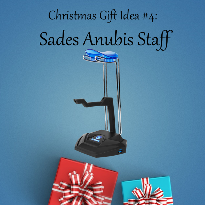 Christmas Gift Idea #4: Sades Anubis Staff Perfect for a friend who loves to put everything in order. Comes with a mouse bungee and 3 USB slots, this could be the best accessory for your friend's neat and tidy build. Get the #SadesAnubisStaff here:...