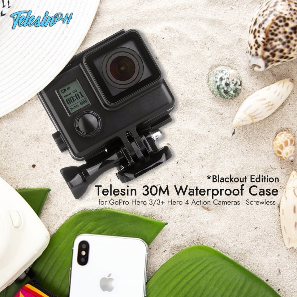"""Classic is the new Black"", Never go out of style even in underwater with Telesin Blackout Edition 30M Waterproof Case for GoPro Hero 3/3+ Hero 4 Action Cameras. www.tomtop.com  🔷 Exquisite workmanship"