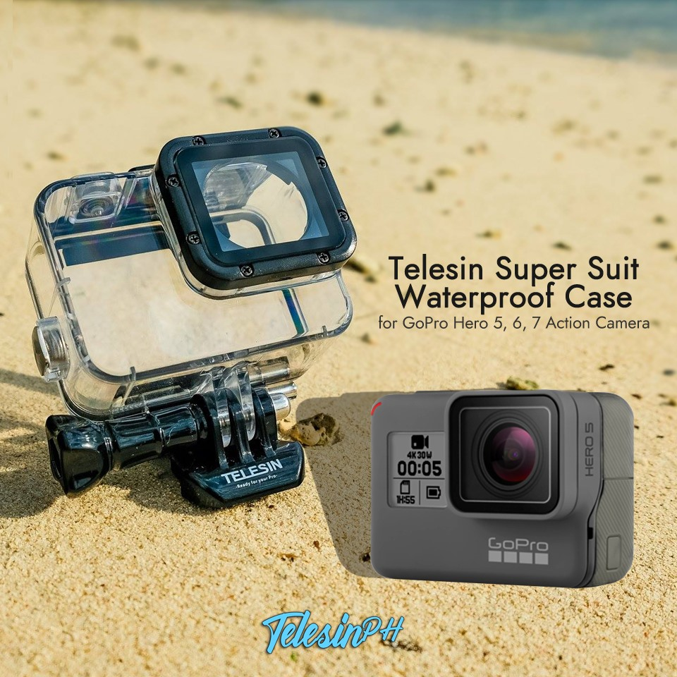Your GoPro Hero needs a durable and reliable protective gear, and that is Telesin Super Suit Waterproof Case! www.tomtop.com 🛡 Transparent Case for you to see the screen
