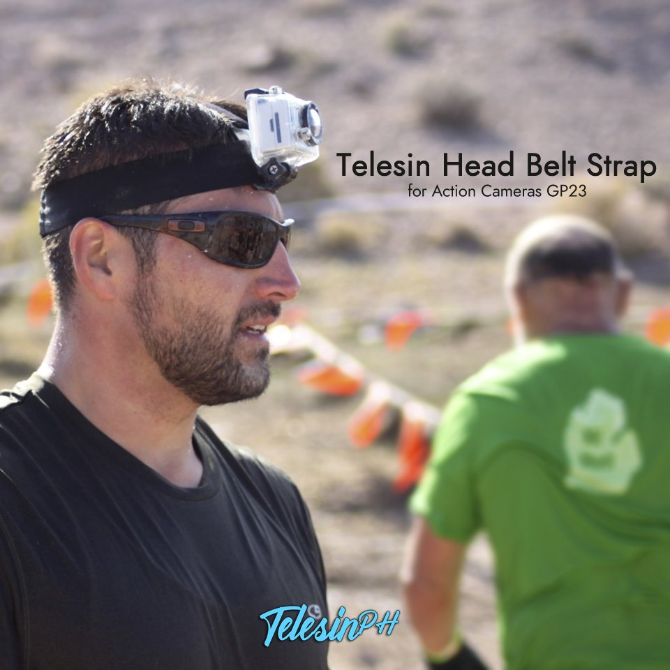 "Telesin Adjustable Head Elastic Harness Belt Strap is an ideal companion for your action camera while traveling. Gives you an ""Eye Level"" view, Durable and lightweight that makes it easy to capture videos. With 3-Anti Skid to make the head strap more fit and intact during your activity. www.tomtop.com"