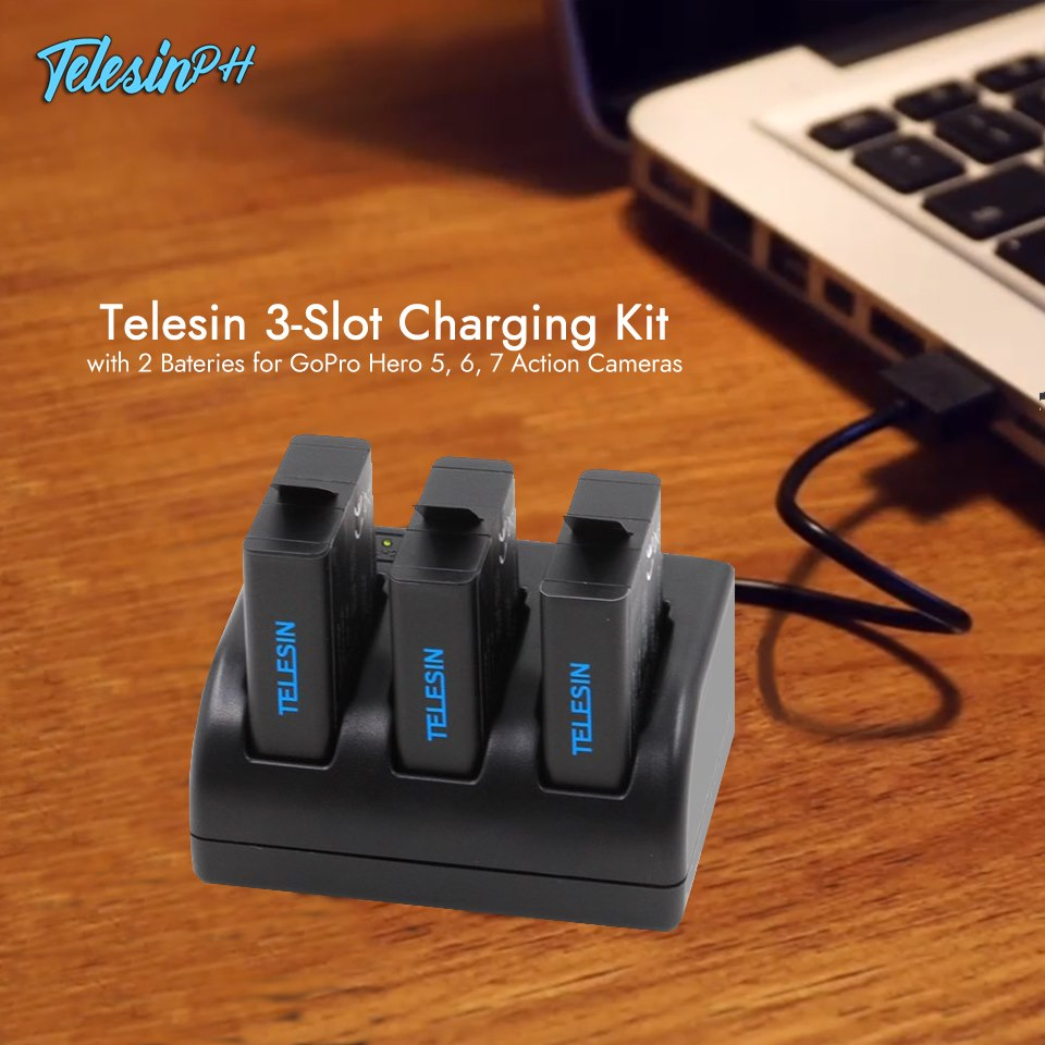 Charging made easy! You can now charge 3 batteries at once, with USB and Type C interface for more convenience. The single charging method is OUT. Telesin 3-Slot Charging Kit is IN! 💯