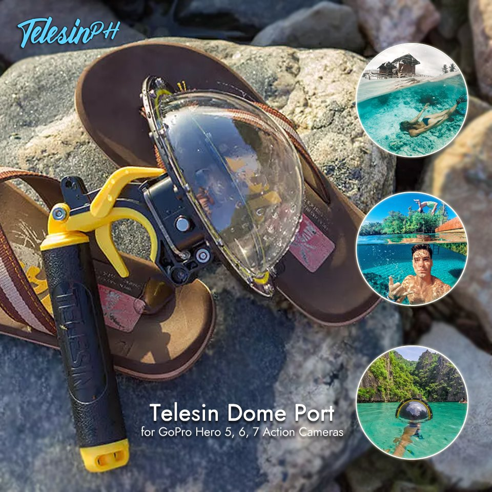 The Amazing Telesin Dome Port is Here! It let you capture a unique over and an underwater scene in one picture.  All-in-one polycarbonate body with waterproof housing for a camera, floating handle grip and pistol trigger. Specially designed for GoPro Hero 5, Hero 6, Hero 7 action cameras >> www.tomtop.com --...