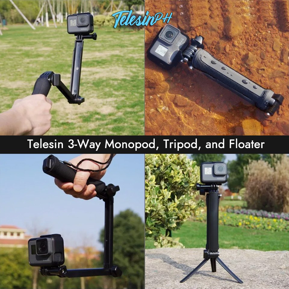 Telesin 3-Way Monopod, Tripod, and Floater for Action Cameras www.tomtop.com ✳️ 3-way Telescopic Pole - The locking and folding system allow you to adjust the pole.
