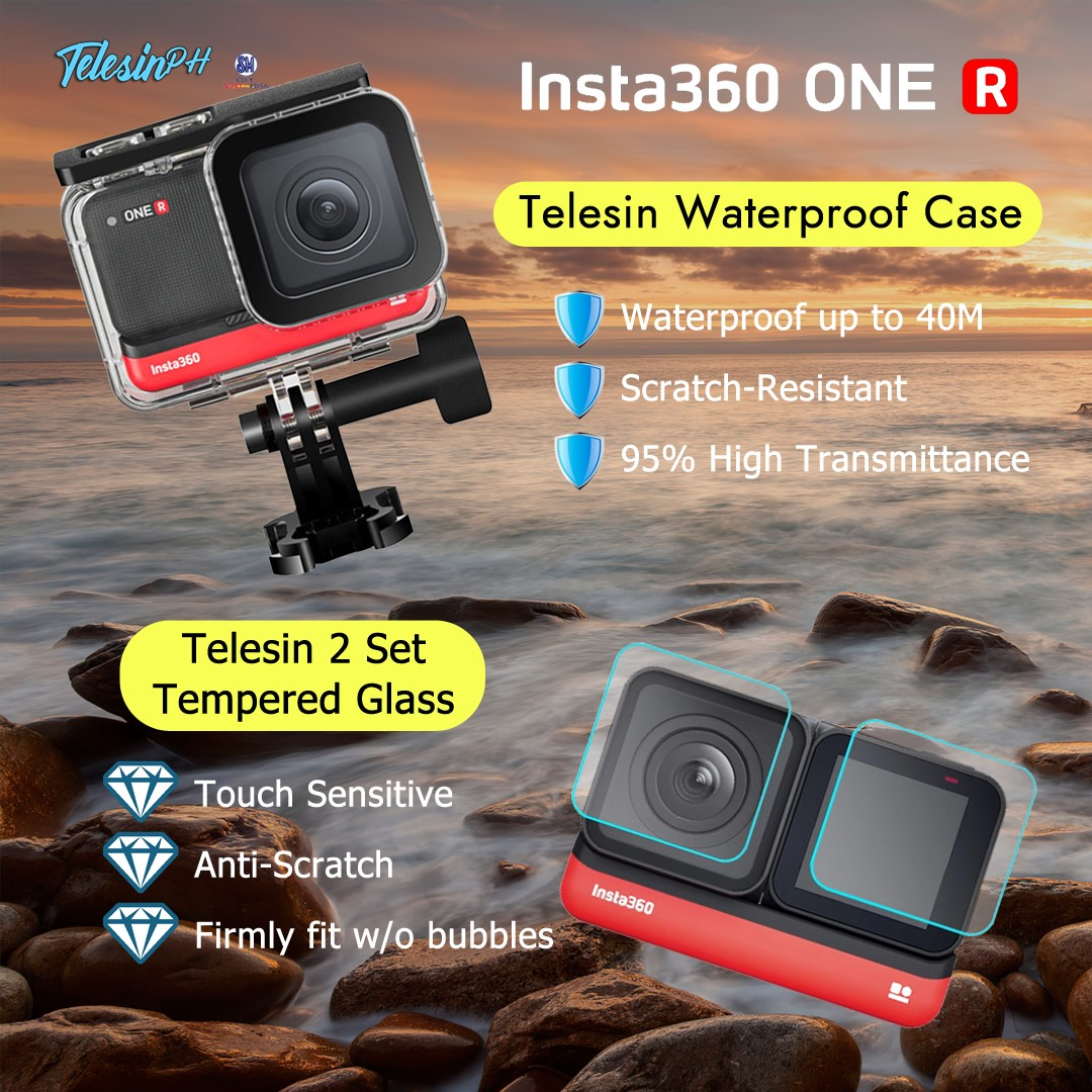 Extreme Underwater adventure will be so much easier with Telesin Accessories for your Insta360 One R Camera. Feel that confidence in every move with Telesin 2 Set Tempered Glass and Go deeper with Telesin Waterproof Case for up to 40M! Get them here:...