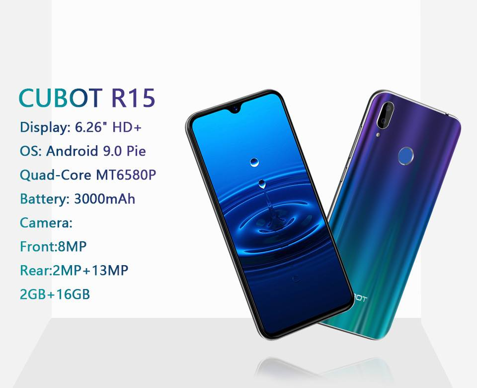 The CUBOT R15 is a 19:9 aspect ratio smart phone,with watershape notch in the middle of the screen,90% of its screen is optimized in use. It brings you elegance,delicacy and more immersive visual experience.