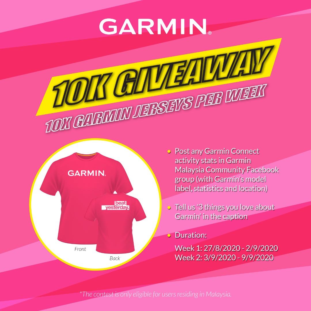 The Garmin Malaysia Community Group 10K Giveaway is here! Stand a chance to win a Garmin Jersey with these simple steps now: