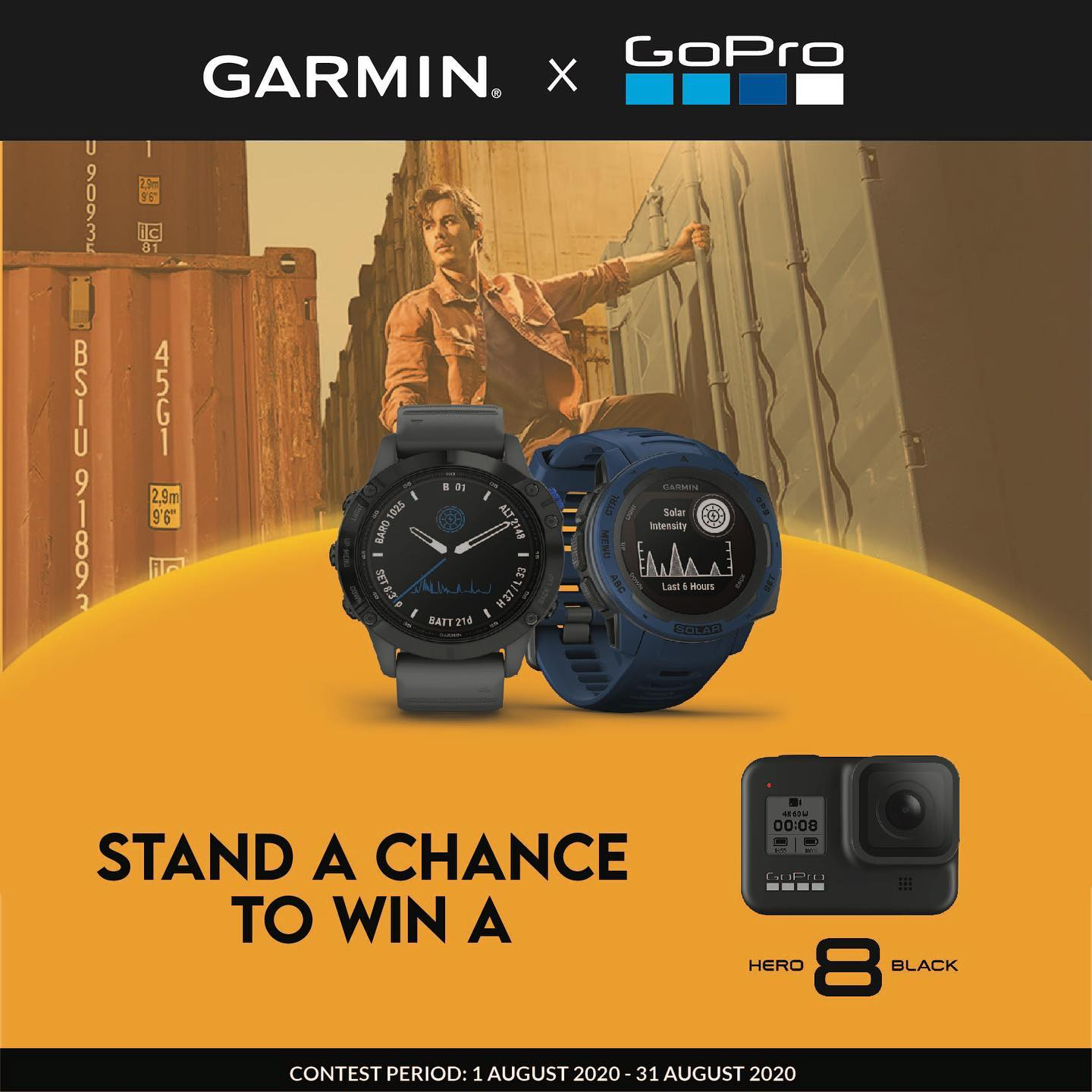Stand a chance to win a GoPro Hero8 Black.