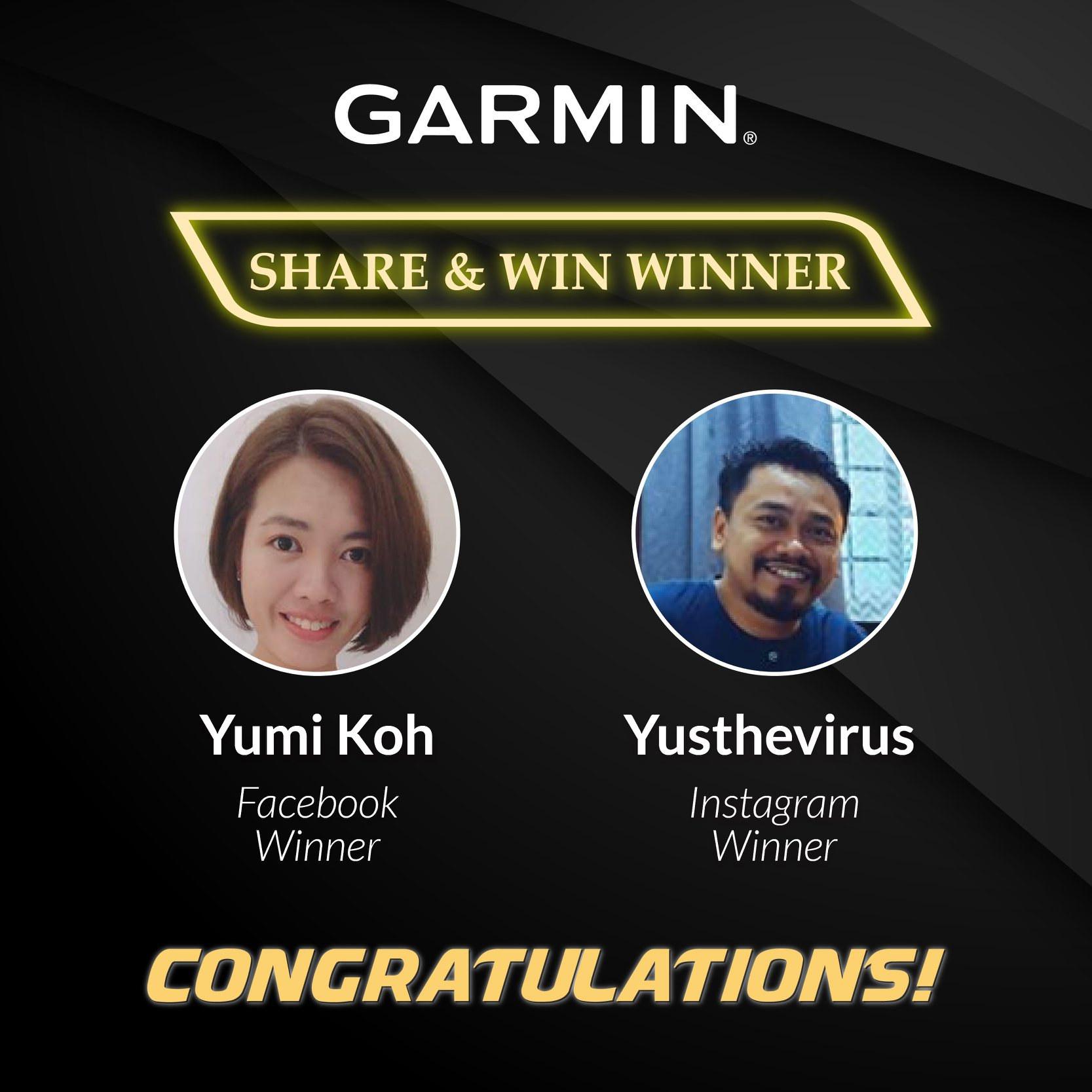 Congratulations to the Garmin SHARE & WIN Winners! Kindly PM us with the following details for prize redemption purposes: - Full Name (as per IC)...