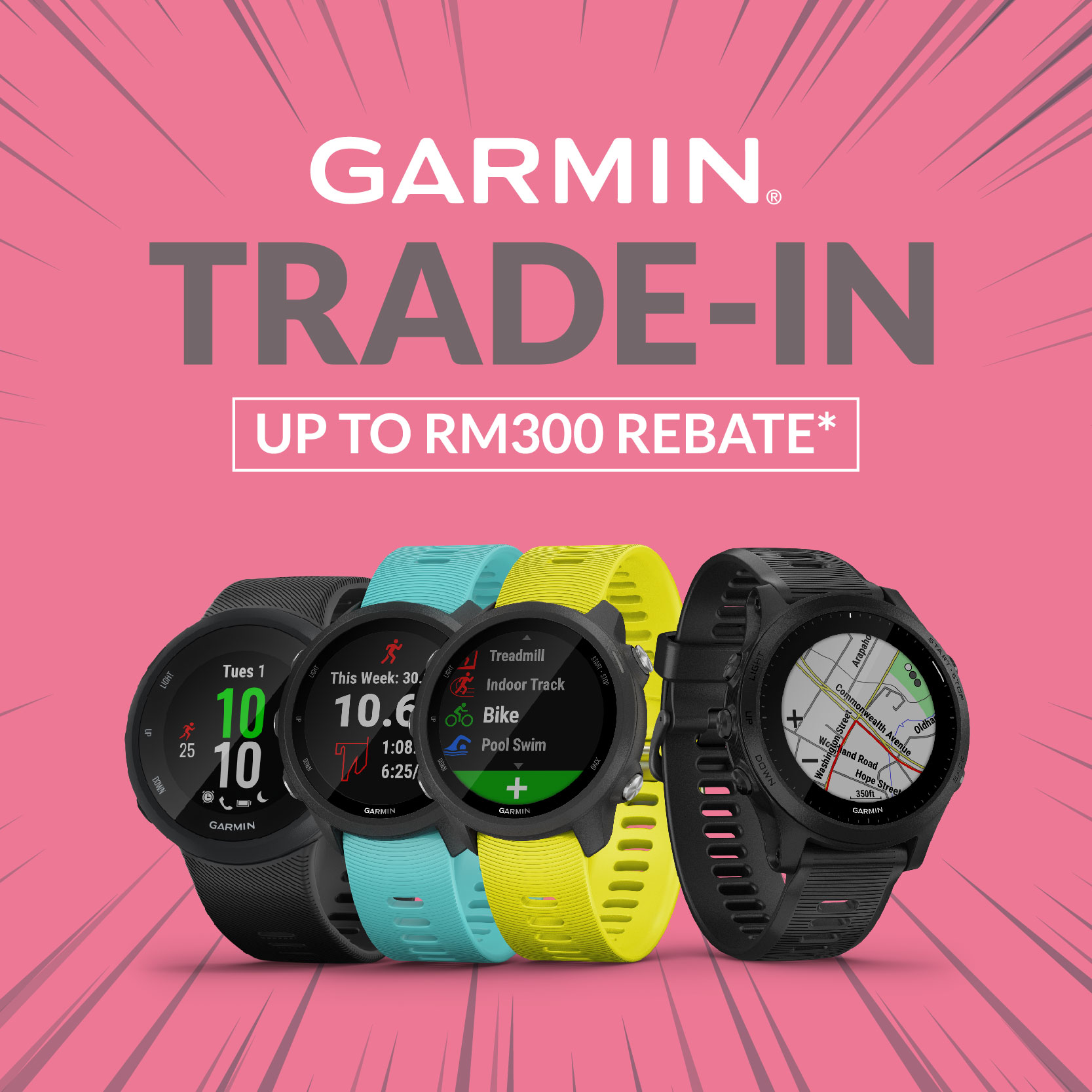 The Garmin's Trade-in Programme (Forerunner Series) is finally here! Upgrade your Garmin today and enjoy up to RM300 worth of rebates when you trade in ANY wrist watch for the following Garmin Forerunner Series:-