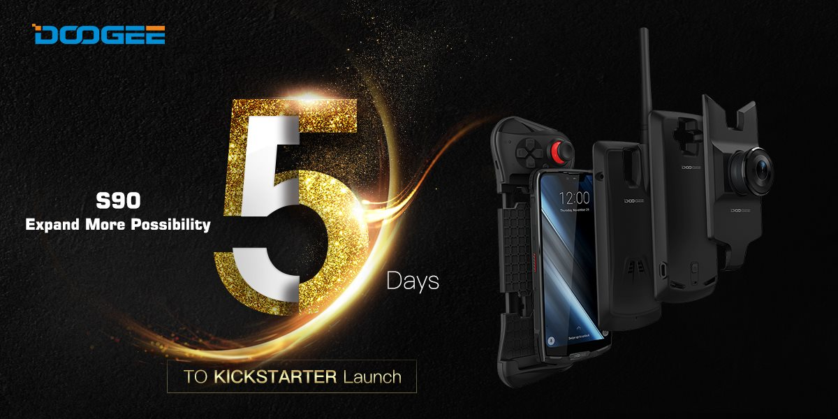 "Well, it's time to answer the question ""When will the DOOGEE S90 be launched?"" It's 5 days later at the Kickstarter platform! Let's count down to welcome the first modular rugged phone of DOOGEE~"