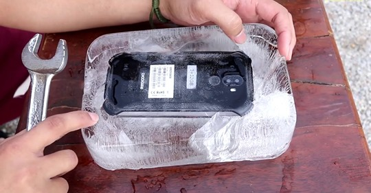 Water resistance-one of the Tri-proof features of the rugged phone.
