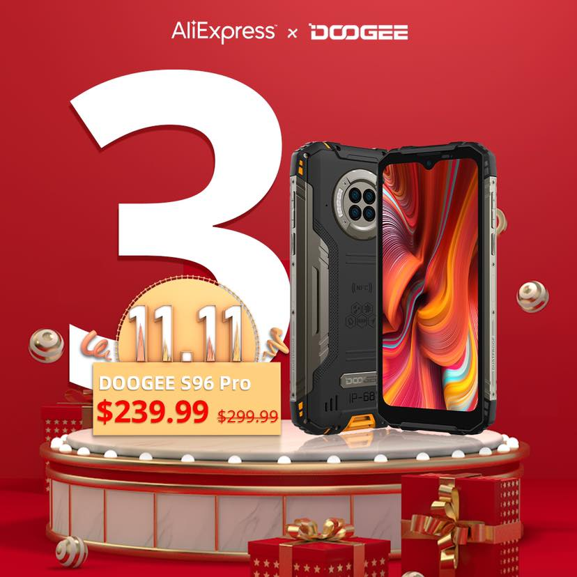 🔥3 DAYS LEFT!!! 📲The #DOOGEE_S96 PRO will be available at #Aliexpress on November 11th for $239.99. 🎁#11 winners from Giveaway will also be announced. 😍Let's look forward to it! 🌊Save more with the 💰$40 Coupon Code: DGS96PRO... 🛒Add to cart to be notified👉 www.tomtop.com