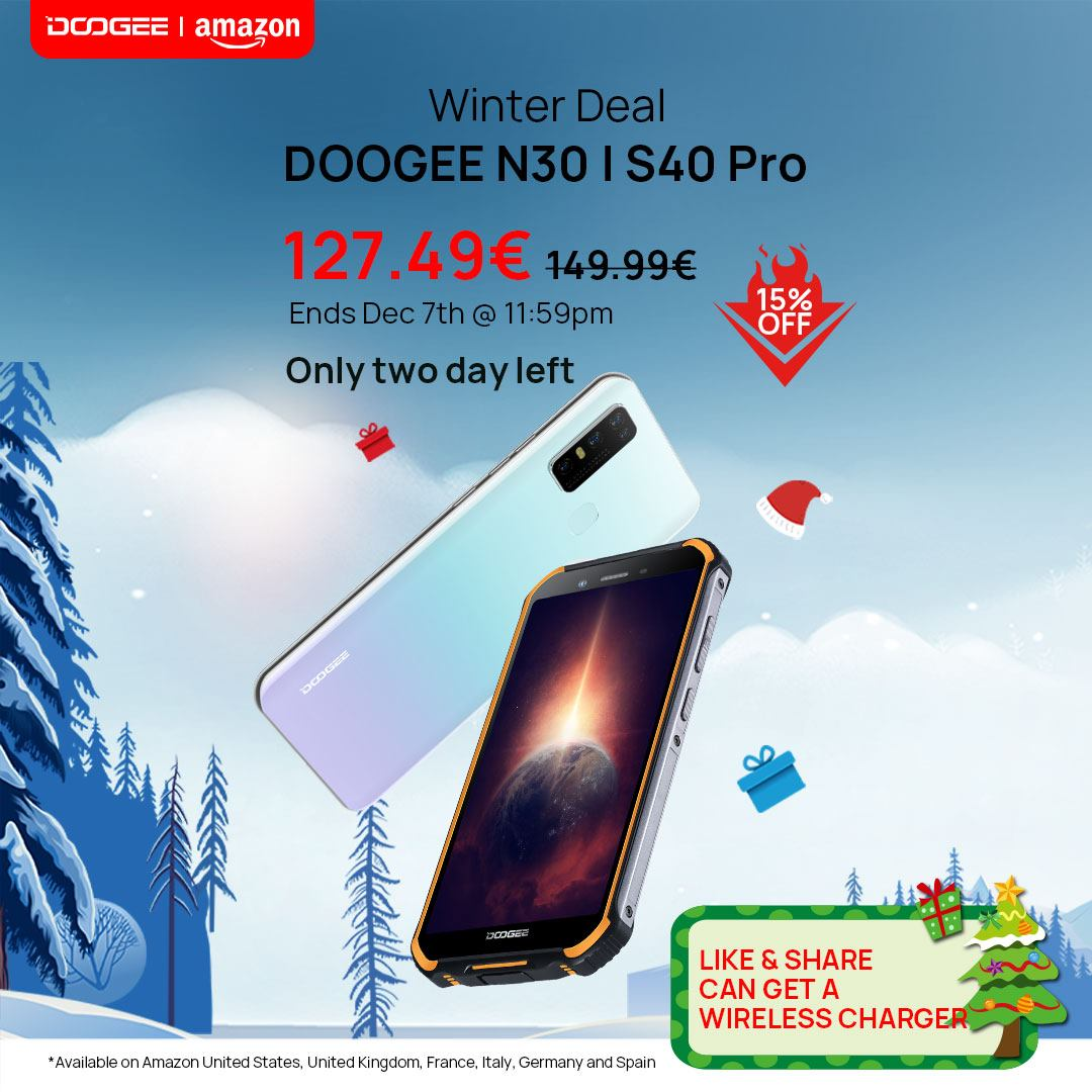 🔥2 DAYS LEFT (Dec. 7th, 11:59 pm) 📱Doogee N30 & S40 PRO, for only: 127.49€. 🎁Like and Share can get a brand new wireless charger! N30🛒 www.tomtop.com