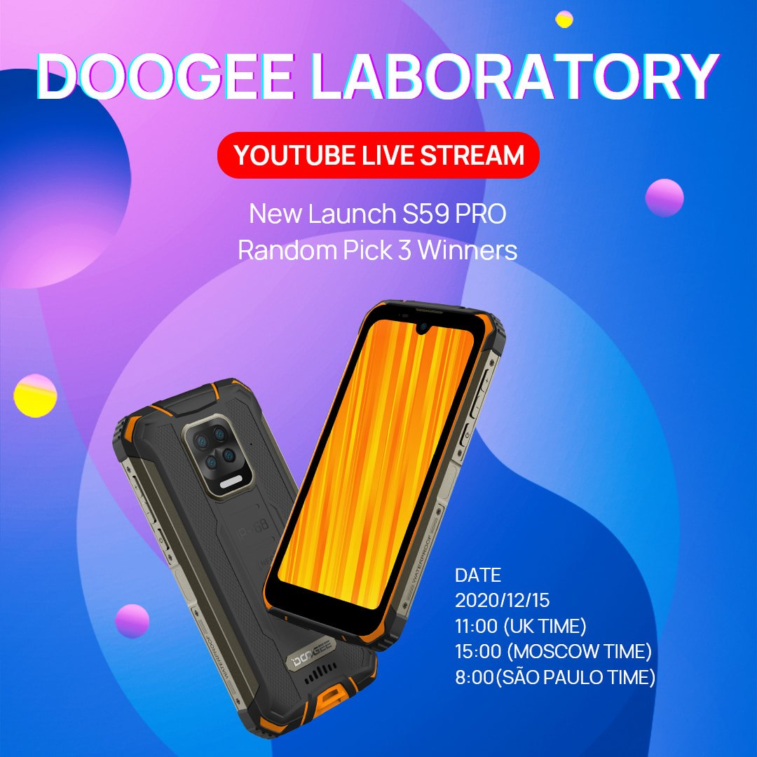 Get ready for December 15, 11:00 (UK time) DOOGEE will draw 3 winners with the S59 PRO and make some LIVE funny experiences using this new device.  1. Freezing test;...