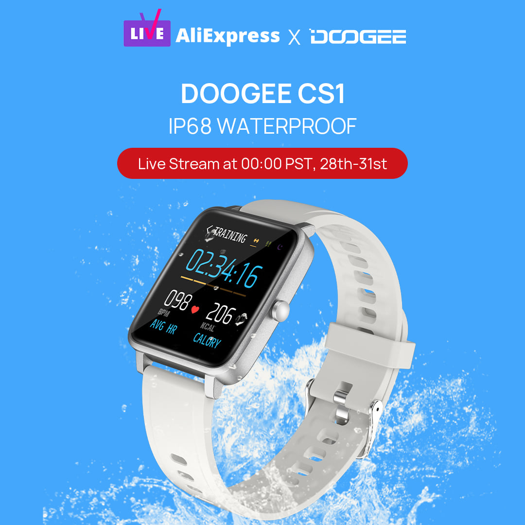 DOOGEE CS1 #smartwatch is waterproof, can be used in the pool or in any shallow water.⌚ Our live stream will begin at 00:00 PST TODAY