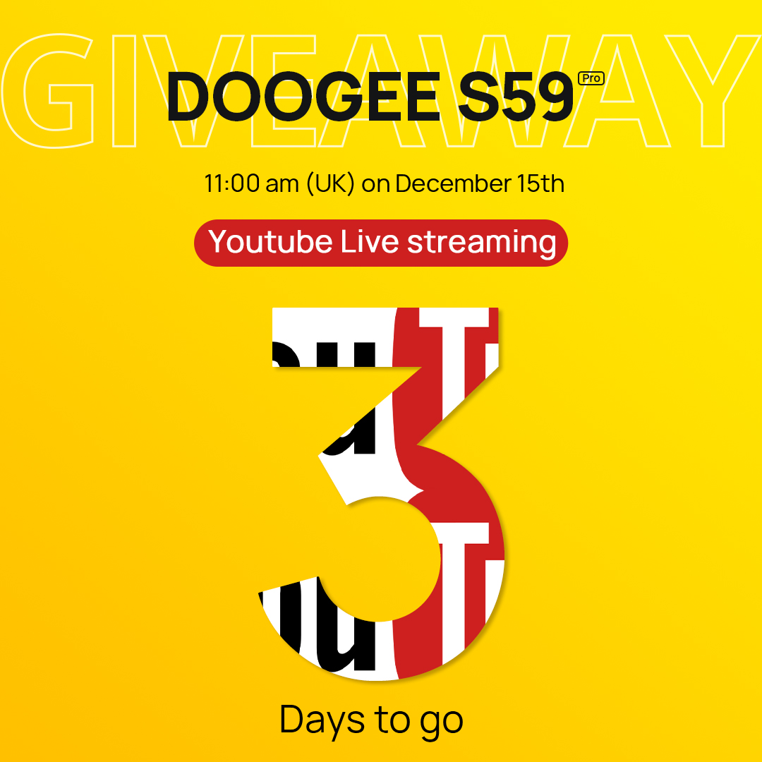 The Live Streaming Draw will begin in 3 days,😍 but you are still in time to participate to get a FREE🎁 #Smartphone DOOGEE S59 PRO.