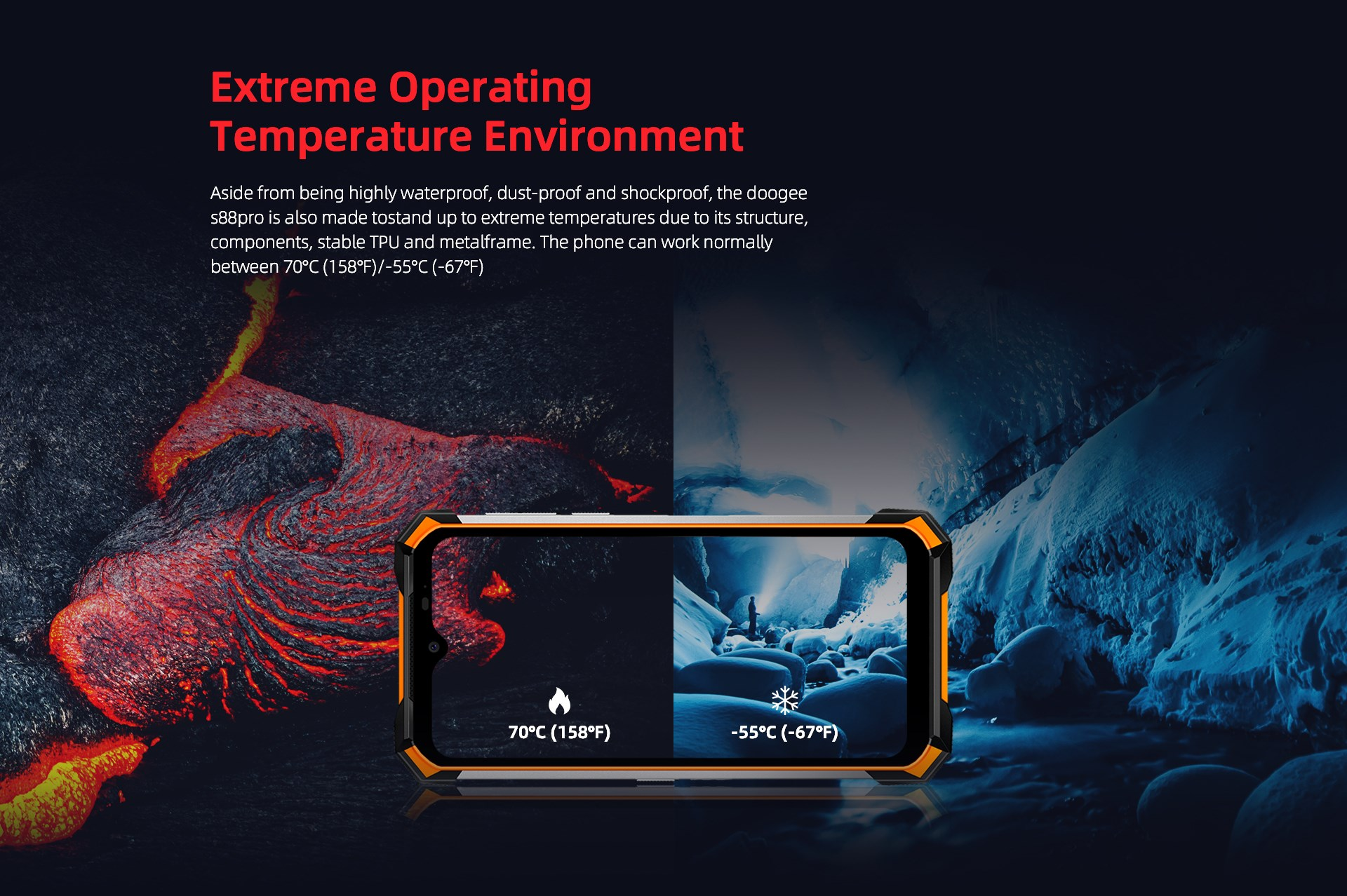 "#DoogeeS88Pro In the most extreme conditions, #ExtremeTemperatures between -55 ""C and around +70""C Do you want to see the video about it?"