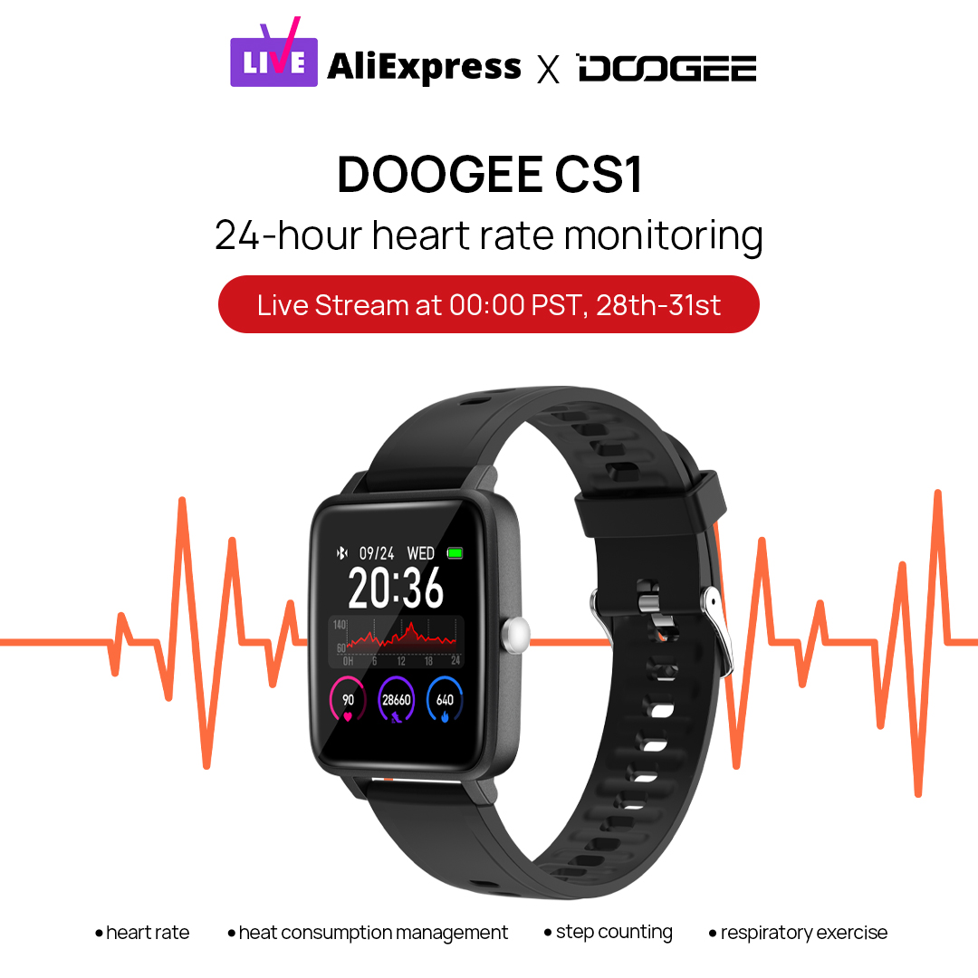Today we will give 1 FREE #DOOGEE_CS1 #Smartwatch to 1 fan during our live streaming.