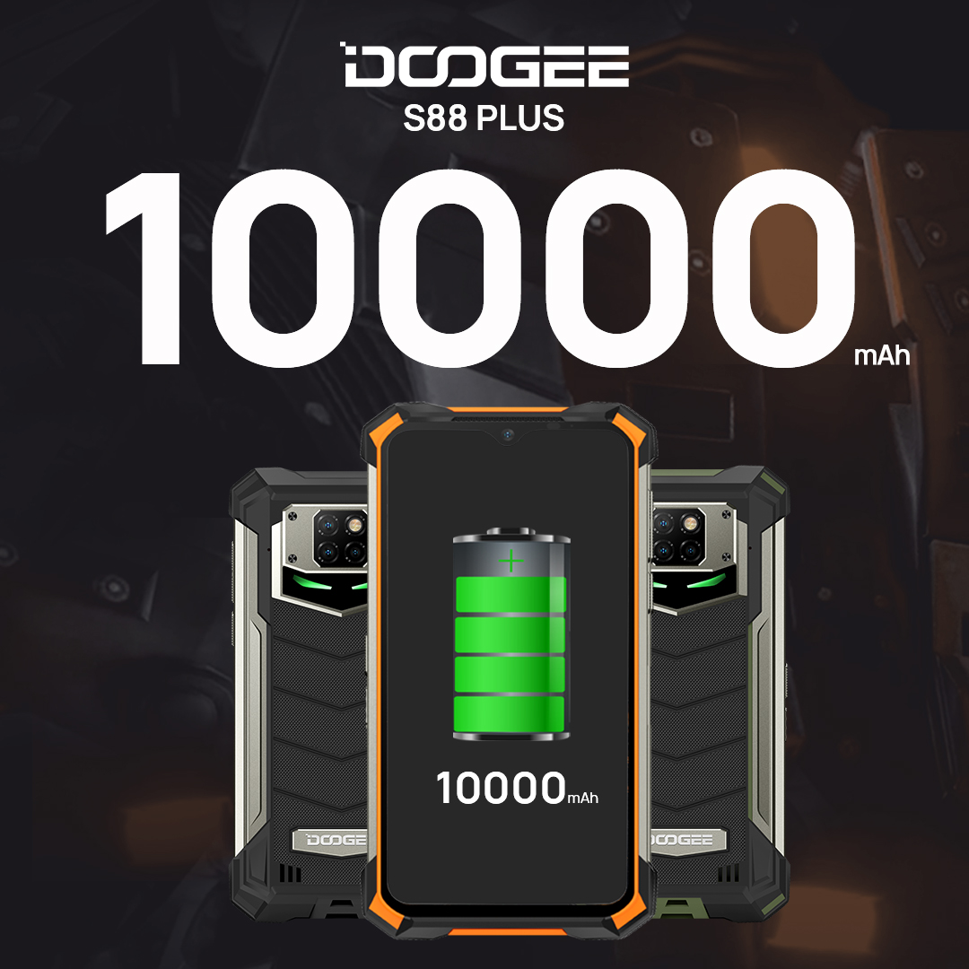 #DOOGEE_S88PLUS has 10000 mAh super battery. Charge once, you can use 3-5 days. 🥰🥰🥰 ADD TO CART👉  www.tomtop.com