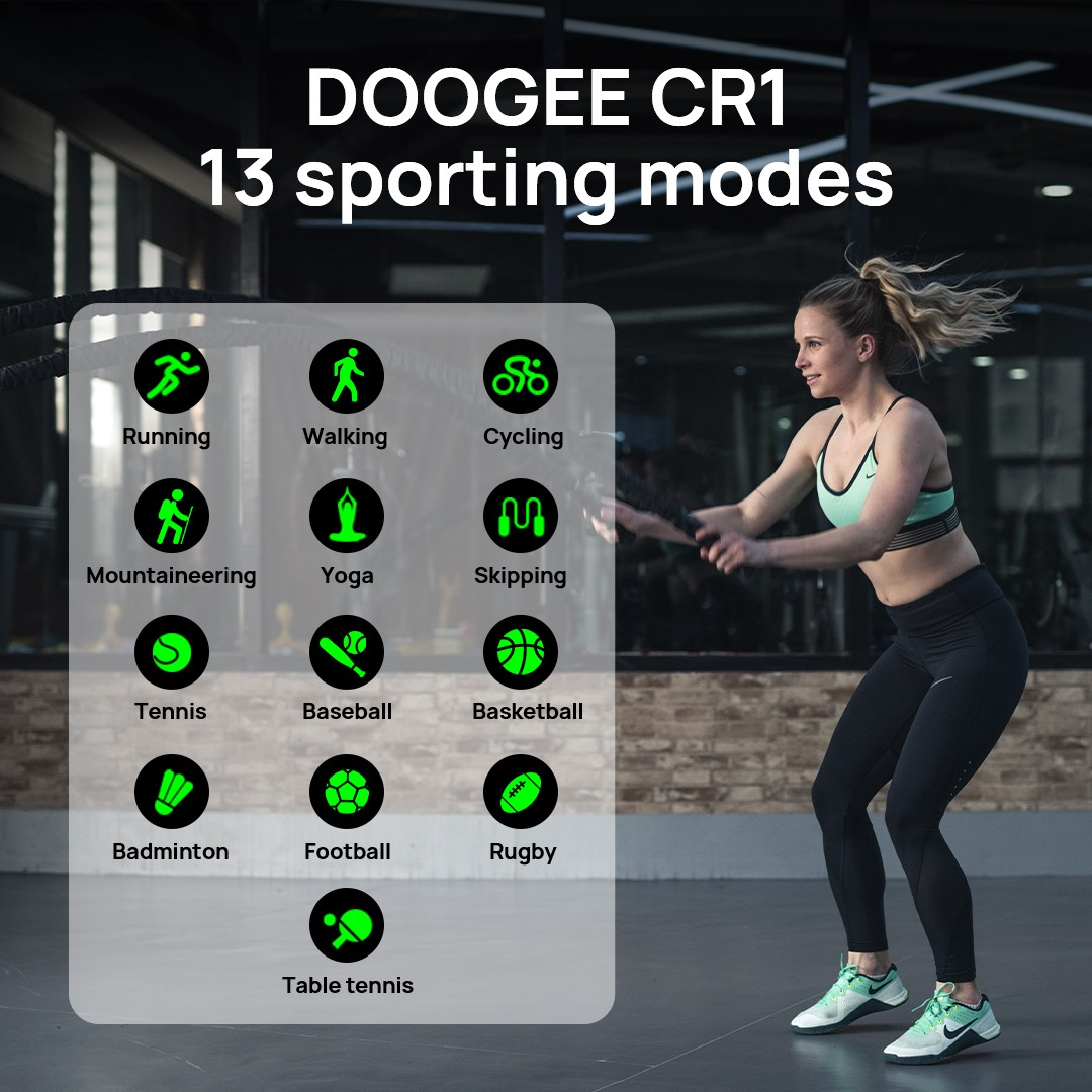 ❤DOOGEE CR1 smartwatch supports 13 sport modes! Just wear it to do exercise with you.