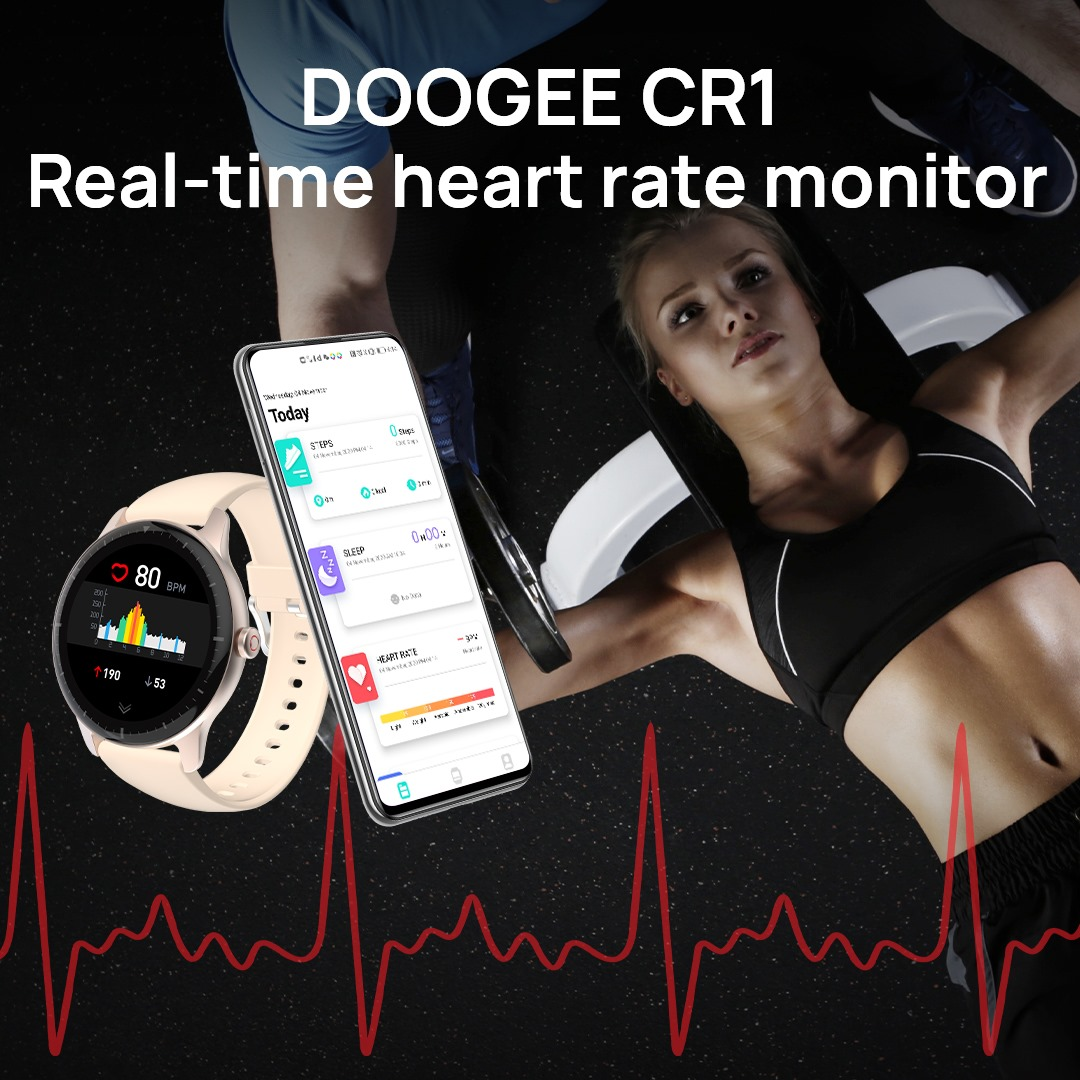 DOOGEE CR1 smartwatch to monitor your heart rate and help you have a healthier life.