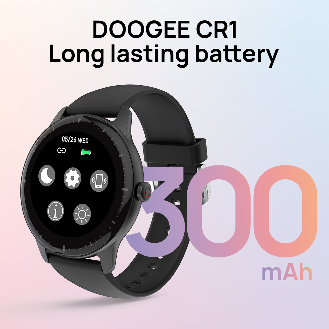 💪DOOGEE CR1 smartwatch has a 300mAh BIG Battery, we mean Bigger than most others brands ;)