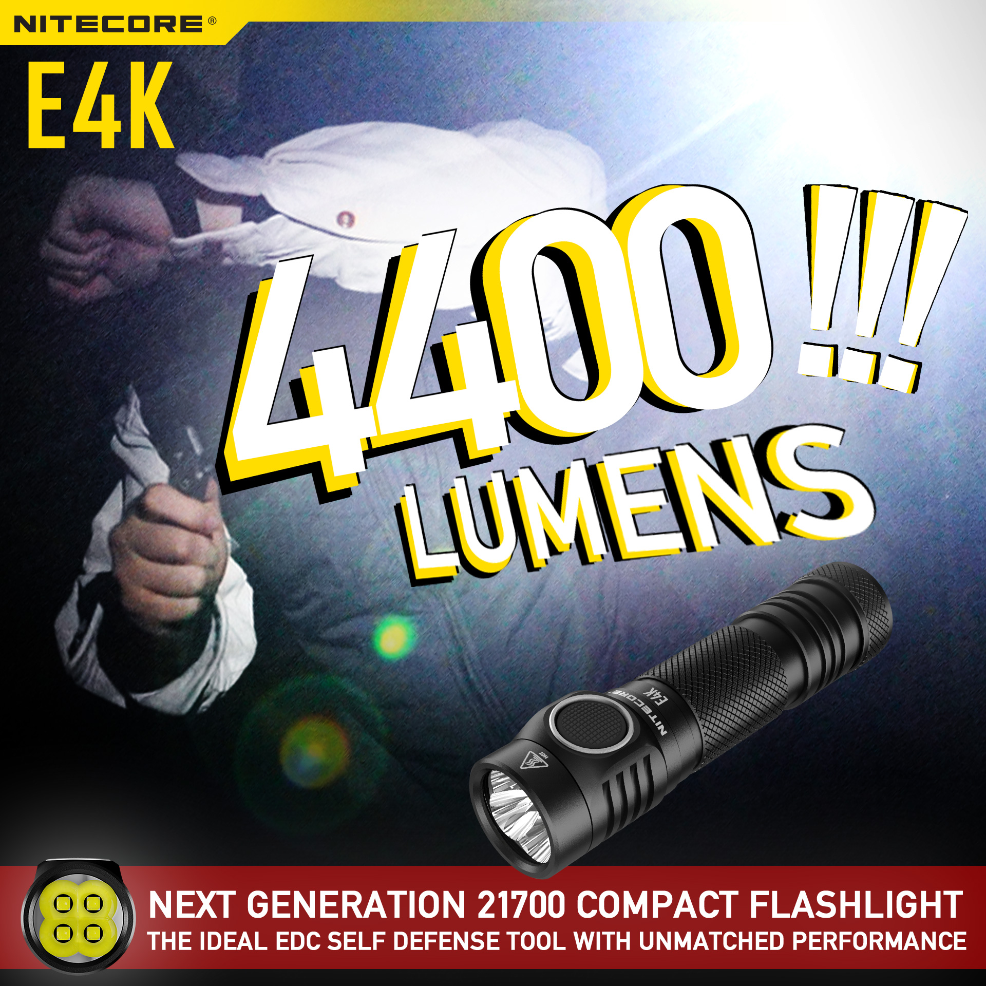 🔥🔥Light against the threat🔥🔥 With the blazing output of 4400 lumens and intuitive design, E4K not only can help you to see in the dark but also provide you the can defend against the attacker before getting into danger. The ideal EDC self defense tool with unmatched performance!!!...