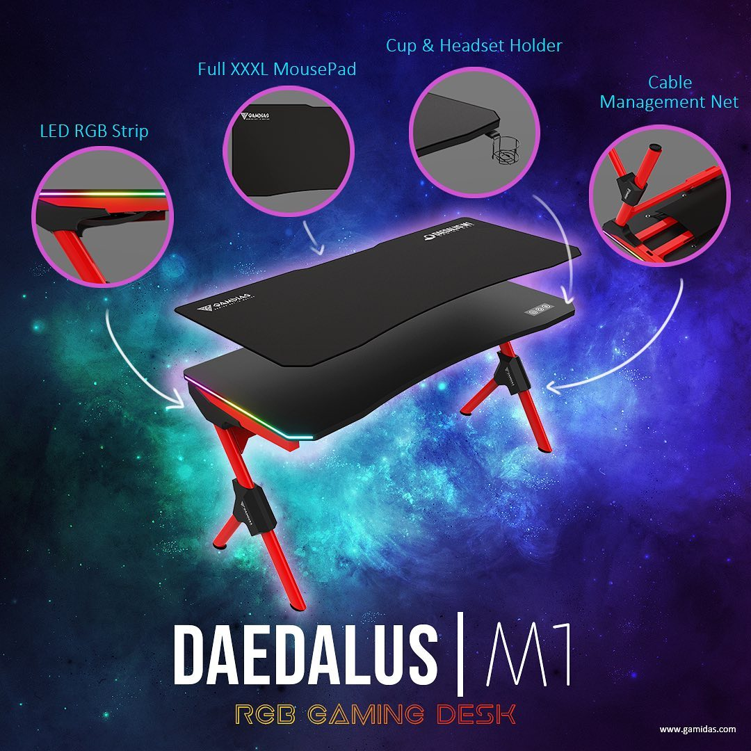 🟡Achieve the dream setup we've all been wanting for❗️with DAEDALUS|M1🌈RGB Gaming Desk ===========================